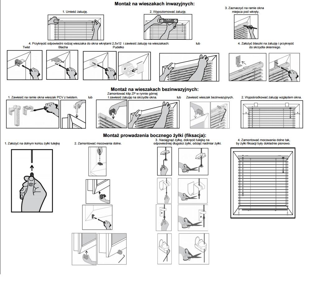 Instrukcja montażu żaluzji